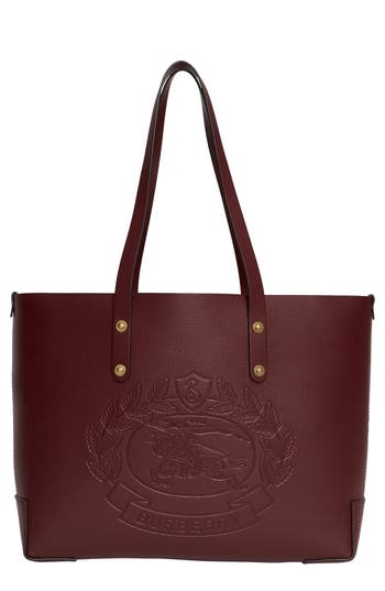 Burberry Embossed Crest Small Leather Tote - Burgundy