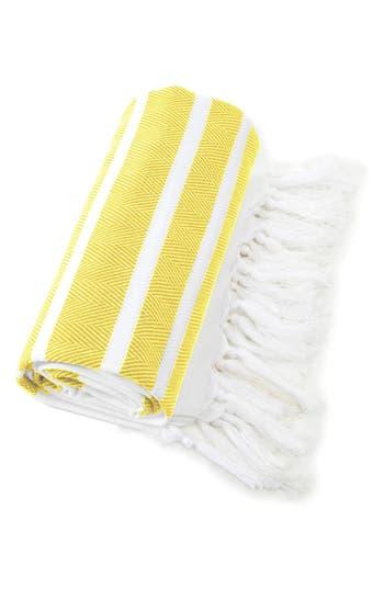 Linum Home Textiles Herringbone Striped Turkish Pestemal Towel, Size One Size - Yellow