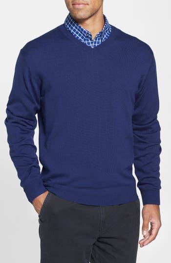 Big & Tall Cutter & Buck Douglas V-Neck Sweater, Blue