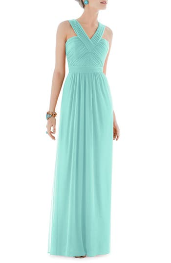 Alfred Sung Shirred Chiffon V-Neck Gown