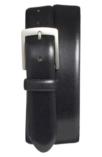 Bosca Leather Dress Belt, Black Old Leather