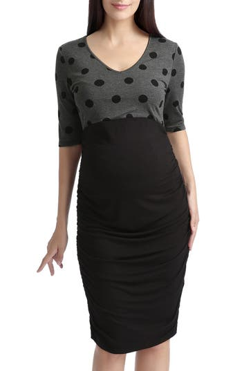 Vintage Style Maternity Clothes Womens Kimi And Kai Farrah Maternity Body-Con Dress Size Medium - Black $58.96 AT vintagedancer.com
