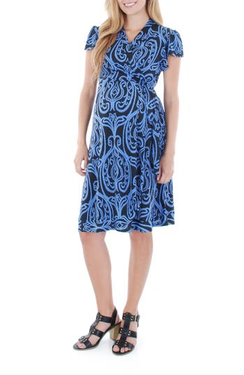 Women's Everly Grey 'Kathy' Maternity/nursing Wrap Dress, Size Small - Blue