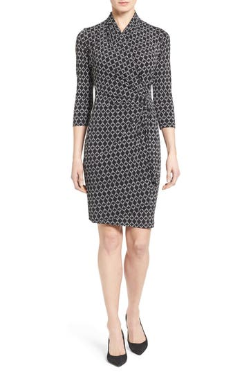 Women's Karen Kane Print Jersey Cascade Faux Wrap Dress