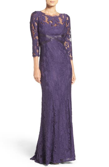 Edwardian Evening Gowns | Victorian Evening Dresses Womens Adrianna Papell Illusion Yoke Lace Gown Size 10 - Purple $243.90 AT vintagedancer.com