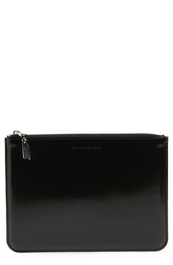 Comme Des Garcons Large Top Zip Leather Pouch - Metallic