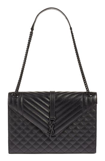 Saint Laurent 'Medium Monogram' Chevron Quilted Leather Shoulder Bag - Black