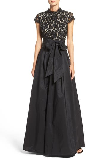 Eliza J Beaded Bodice Ballgown, Black