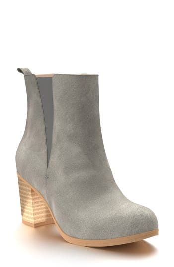 Shoes Of Prey Block Heel Chelsea Boot, Grey