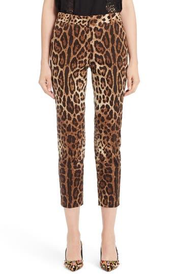 Dolce & Gabbana Cottons LEOPARD PRINT ANKLE PANTS