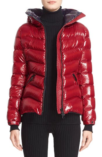 Women's Moncler Anthia Water Resistant Shiny Nylon Hooded Down Puffer Jacket, Size 00 - Red