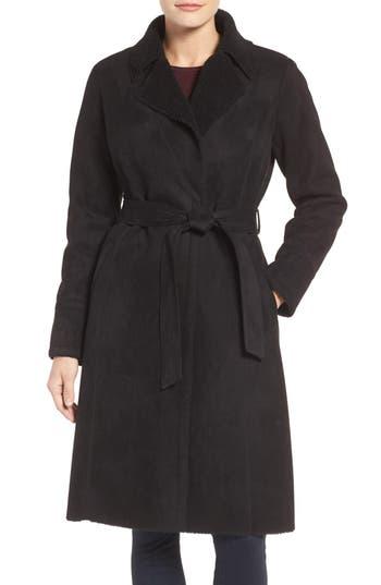 Women's Eliza J Faux Shearling Wrap Trench Coat