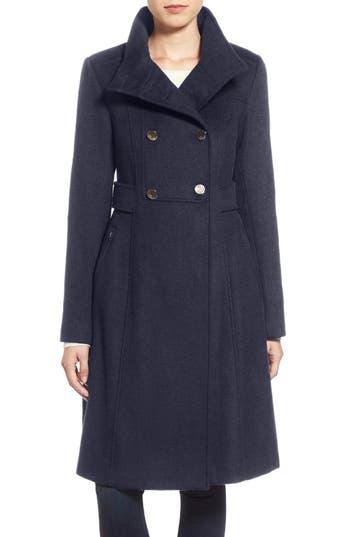 Women's Eliza J Wool Blend Long Military Coat, Size 0 - Blue