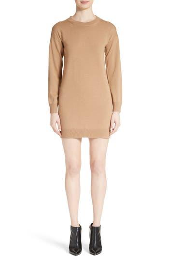Burberry Alewater Elbow Patch Merino Wool Dress, Beige