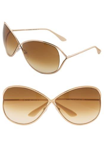 Tom Ford Miranda Open Temple Oversize Metal Sunglasses - Shiny Rose Gold
