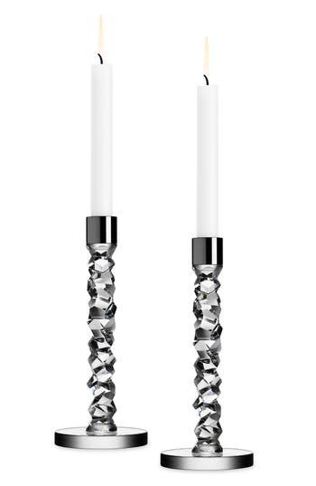 Orrefors Carat Set Of 2 Candlesticks