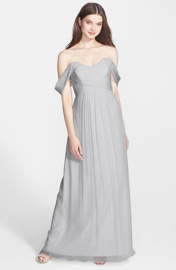 Women's Amsale Convertible Crinkled Silk Chiffon Gown