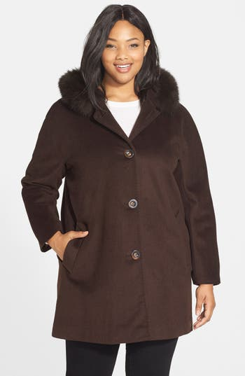 Plus Size Ellen Tracy Kimono Sleeve Jacket With Genuine Fox Fur Trim