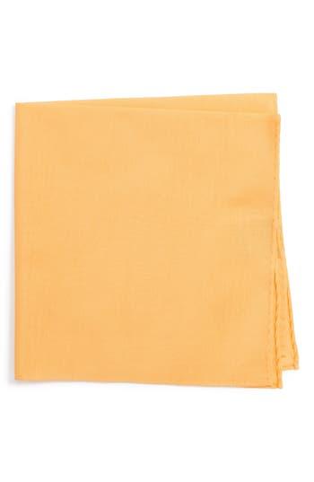 Men's Nordstrom Men's Shop Solid Cotton & Silk Pocket Square, Size Regular - Metallic