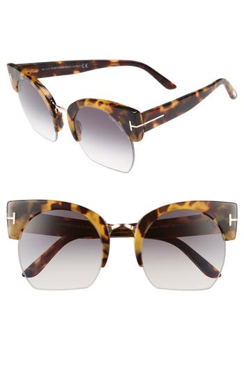 Tom Ford Savannah 55Mm Cat Eye Sunglasses - Havana/ Gradient Smoke