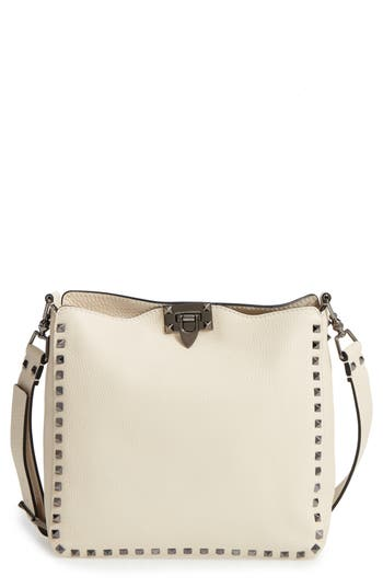 Valentino Leathers SMALL ROCKSTUD LEATHER HOBO - IVORY