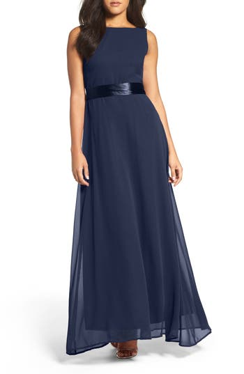 Women's Lulus Belted V-Back Chiffon Gown