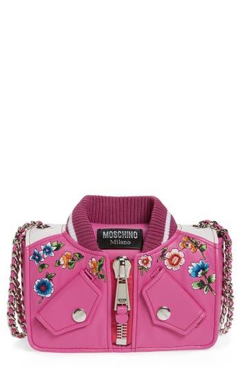 Moschino Embroidered Floral Bomber Jacket Leather Shoulder Bag - Purple