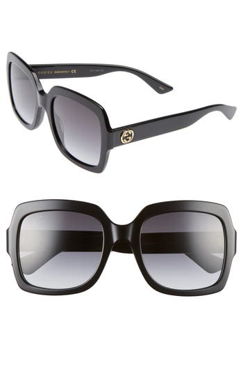 Women's Gucci 54Mm Square Sunglasses - Black/ Grey