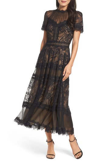 Victorian Costumes: Dresses, Saloon Girls, Southern Belle, Witch Womens Tadashi Shoji Lace Tea-Length Dress Size 16 - Black $508.00 AT vintagedancer.com