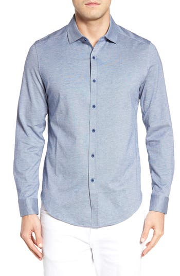 Men's Bugatchi Shaped Fit Knit Sport Shirt