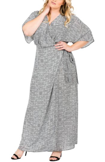Plus Size Women's Standards & Practices Olivia Print Wrap Maxi Dress, Size 3X - Black