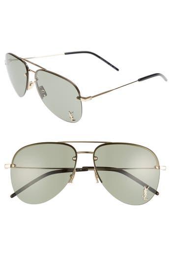 Women's Saint Laurent 59Mm Aviator Sunglasses - Gold