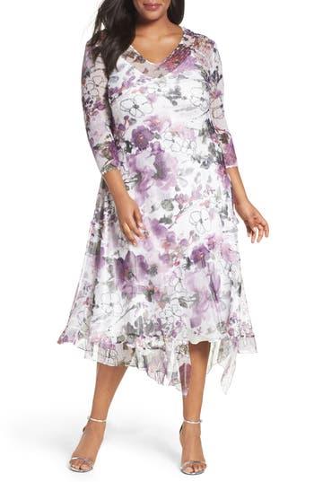 Plus Size Retro Dresses Plus Size Womens Komarov Floral Chiffon Handkerchief Hem Dress Size 1X - Purple $232.80 AT vintagedancer.com