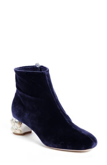 Women's Miu Miu Embellished Block Heel Boot, Size 5.5US / 35.5EU - Blue