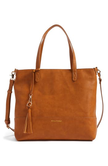 Infant Bella Tunno Boss Faux Leather Diaper Bag & Clutch - Brown