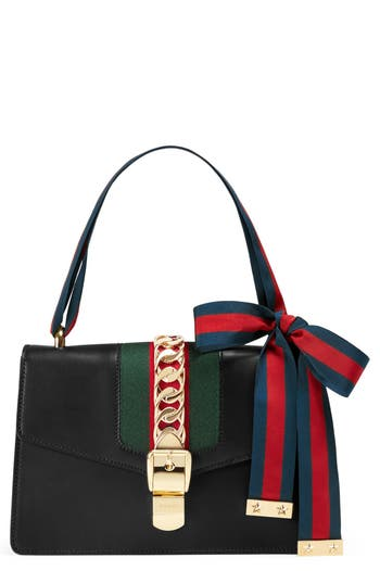 Gucci Small Sylvie Leather Shoulder Bag - Black