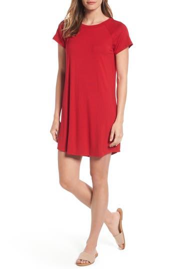 Petite Women's Bobeau Back Cutout Tunic Dress, Size Medium P - Red