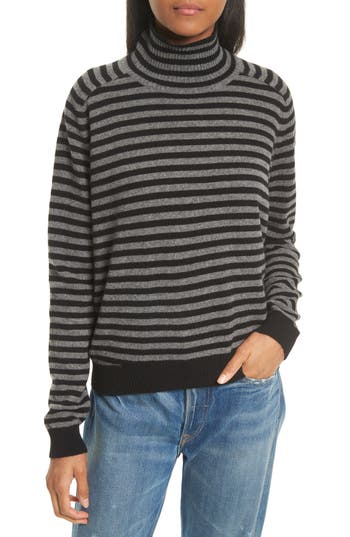 Women's Vince Breton Stripe Cashmere Sweater, Size X-Small - Black