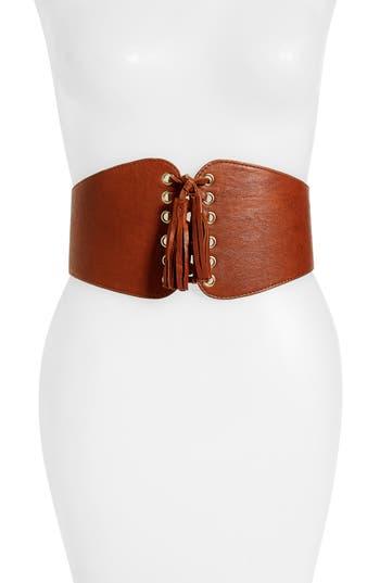 Women's Raina Santiago Leather Corset Belt, Size One Size - Cognac