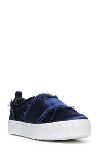 b6853f1ee04d6 Sam Edelman Levine Fringe Slip-On Platform Sneaker In Poseidon Blue Satin