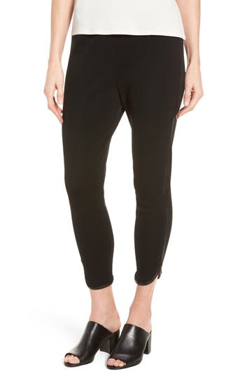 Ming Wang Faux Leather Trim Leggings, Black