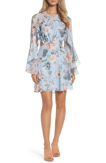 Women's Bardot Floral Print Chiffon Dress, Size Small - Blue