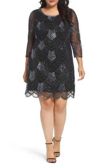 Plus Size Vintage Dresses, Plus Size Retro Dresses Plus Size Womens Pisarro Nights Embellished Mesh Cocktail Dress $188.00 AT vintagedancer.com