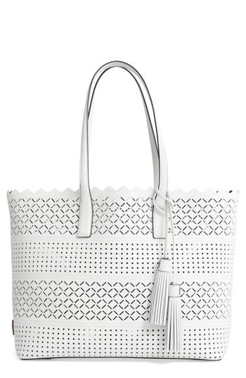 Milly Laser Perforated Leather Tote -