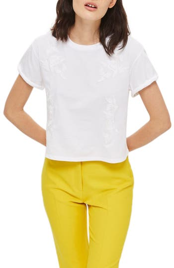 Women's Topshop Embroidered Crop Tee