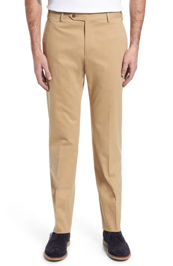 Men's Zanella Parker Flat Front Solid Stretch Cotton Trousers