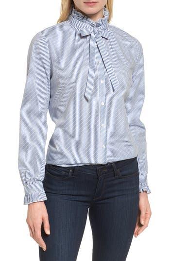 60s Shirts, Tops, Blouses | 70s Shirts, Blouses Petite Womens Halogen Ruffle Bow Neck Blouse Size X-Large P - Blue $41.40 AT vintagedancer.com