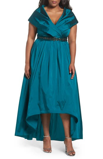 Plus Size Women's Adrianna Papell Embellished Portrait Collar Taffeta Gown, Size 14W - Green