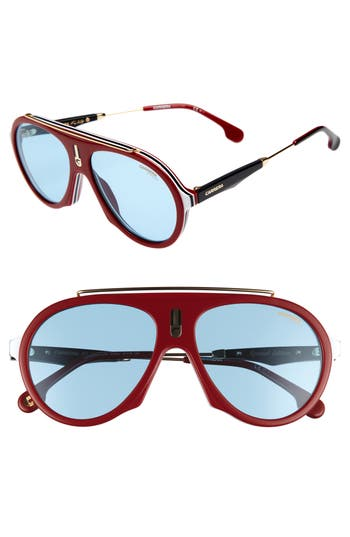 Carrera Flag 57Mm Mirrored Pilot Sunglasses - Burgundy/ Gold