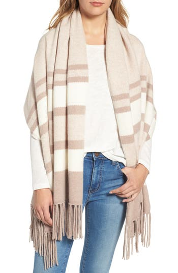 Women's Nordstrom Collection Stripe Cashmere Wrap, Size One Size - Beige